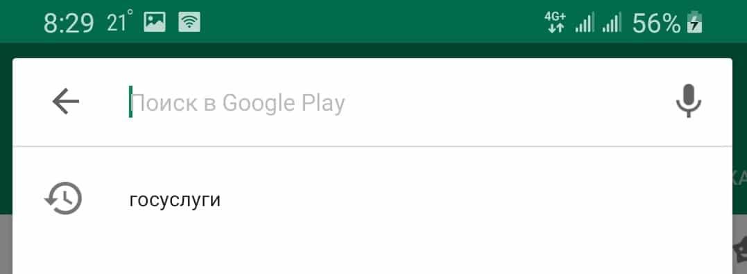 Поиск приложения госуслуги в Google Play
