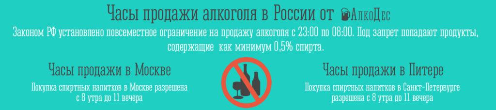 Продажа алкоголя в Москве и области в 2019 время, ограничения, закон